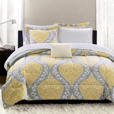Mainstays Yellow Damask Coordinated Bedding Set Bed in a Bag - Queen