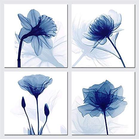 Wieco Art - Lienzo Decorativo para Pared, diseño de Flores, Color Azul