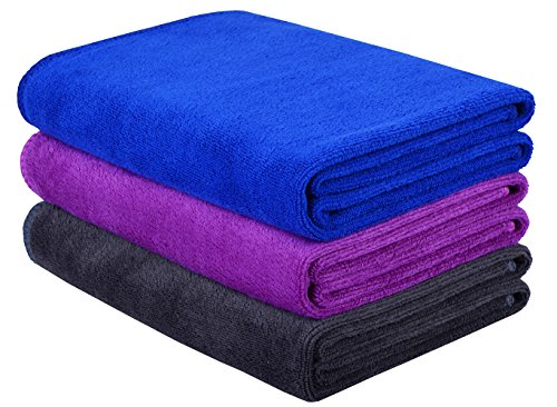 HOPESHINE Microfiber Gym Towels Fast Drying Sports Towel Fitness Workout Sweat Towels 3-Pack 16 inch X 32 inch (Blue+Purple+Grey)