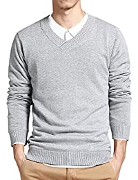 Mens Slim Comfortably Knitted Long Sleeve V-Neck Sweaters