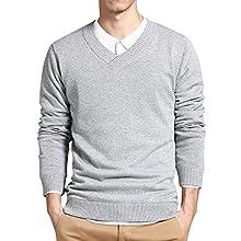 Men's Slim Long Sleeve V-Neck Sweater