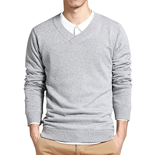 - LTIFONE Mens Slim Comfortably Knitted Long Sleeve V-Neck Sweaters (Grey,L)