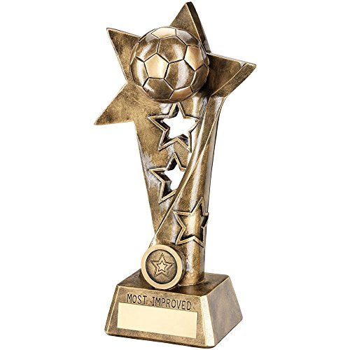 Trophy Column Star (Lapal Dimension BRZ/GOLD FOOTBALL TWISTED STAR COLUMN TROPHY - MOST IMPROVED(1in CENTRE) 10.25in)