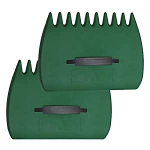 MiMiLive Leaf Scoop 1 Pair Leaf Hand Rakes Leaves Collector Plastic Garden Scoop for Picking Up Leaves,Grass Clippings and Garbage (Dark Green)