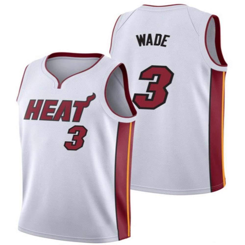 blanc L Dwyane Wade   3 Jersey Basketball Masculin - NBA Miami Heat, Basketball engrener Hommes Swinghomme Jersey Manches Sport Débardeur