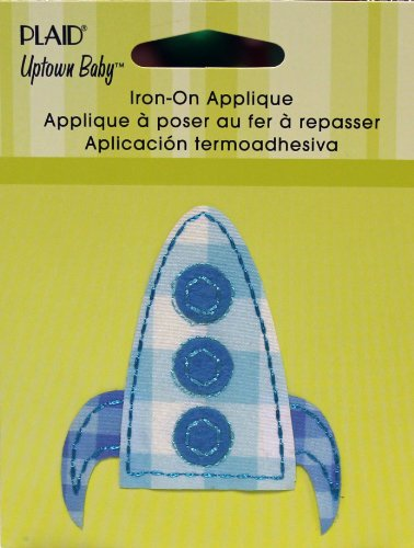 Ship Applique - Uptown Baby Printed Fabric Iron on Appliques, Small, 34548 Blue Spaceship