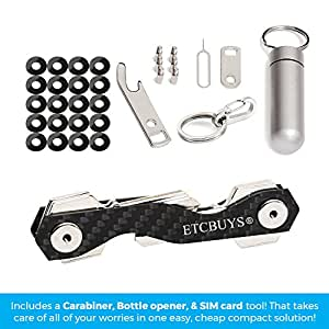 Compact Key Holder - A Carbon Fiber & Stainless Steel Key Chain Organizer that Holds Up to 18 Keys with Utility Multi-Tool - Key Gadget includes Pill Holder, Bottle Opener, Carabiner, Gift (Pack of 1)