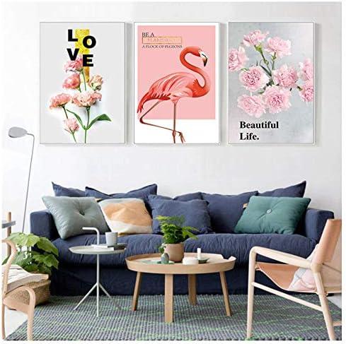 キャンバス絵画スタイリッシュなリビングルームのピンクの花のポスター北欧スタイルの壁のアートワーク-40X60Cmx3個フレームレス
