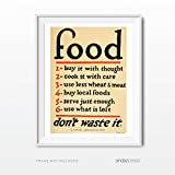 Andaz Press Vintage Wall Art, 8.5x11-inch Print Poster, Gift, Sign, Food Don't Waste It, Featuring World War II Kitchen Sign, 1-Pack, Christmas Gift for Mom, Mother's Day, UNFRAMED