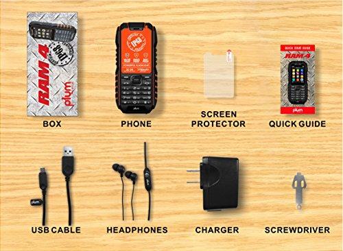 Rugged Cell Phone Unlocked GSM Waterproof Shockproof Powerful Battery Flashlight Military Grade IP68 Certified Black Orange by Plum (Image #4)