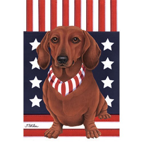 Dachshund (Red) Patriotic Breed Garden Flag