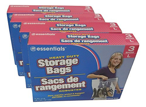 essentials(TM) Heavy Duty Clear Plastic Storage Bags w/