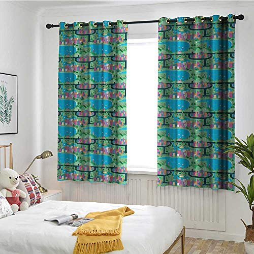 MaryMunger Kids Car Race Track Roadway Activity Curtains for Bedroom Modern Waterfront City View Drawing in Lively Colors Insulated with Grommet Curtains for Bedroom W 55