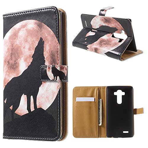 G4 Case,LG G4 Case, SAUS [Kickstand Feature] Fashion Design Dual-Use Flip Premium PU leather Fold Wallet case Cover with Card slot and Magnetic Closure For LG G4 (Wolf In Moon)