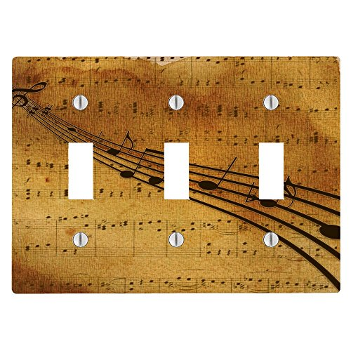 (Vintage Sheet Music Notes 3 Toggle Electrical Switch Wall Plate (6.56 x 4.69in))