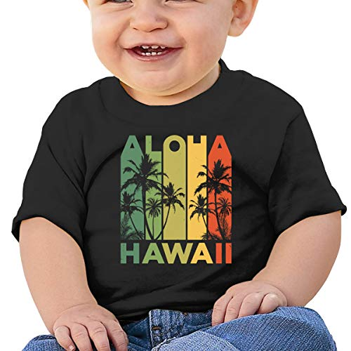 (ShenigonVintage Aloha Hawaiian Toddler/Infant Short Sleeve Cotton T Shirts Black 40)