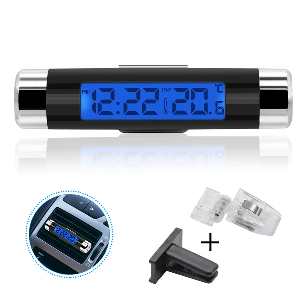 BianchiPatricia 2 In 1 Car Vehicle LCD Digital Display Automotive Thermometer Clock Portable
