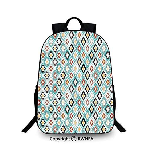 Motifs School Bag Travel Daypack,Vintage Ottoman Floral Design with Old Fashion Heraldic Tiles Artistic Image Backpack Cool Children Bookbag, Aqua - Heraldic Designs Cd