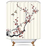 Cherry Blossom Shower Curtain Riyidecor Blossom Cherry Buds Shower Curtain Panel Weighted Hem Branches Asian Style Japanese Chinese Painting Birds Decor Fabric Set Polyester Waterproof Fabric 72x72 Inch Free 12-Pack Plastic Hooks