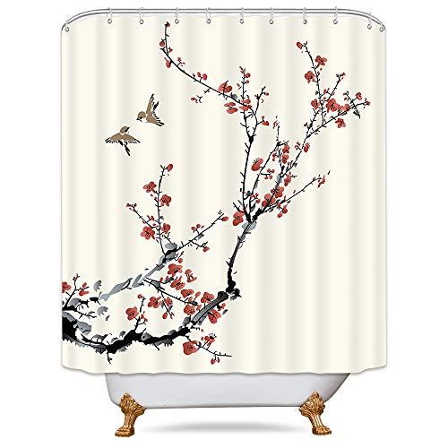 Riyidecor Blossom Cherry Buds Shower Curtain Panel Weighted Hem Branches Asian Style Japanese Chinese Painting Birds Decor Fabric Set Polyester Waterproof Fabric 72x72 Inch Free 12-Pack Plastic - Shower Cherry Curtain Blossom