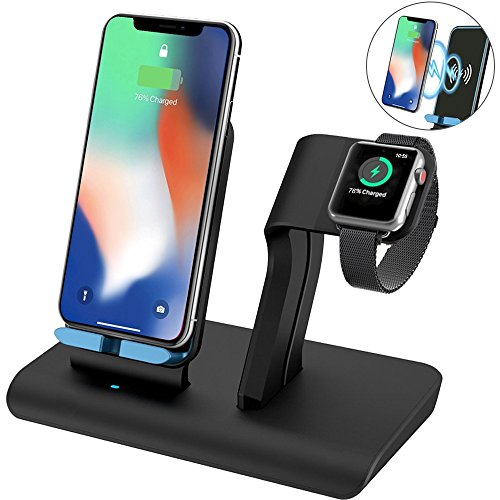 for Apple Watch Charger Stand for iPhone Xs/Xs Max/XR/X Wireless Charger, KNGUVTH Qi Wireless Charging Stations for iPhone 8/8 Plus, Samsung, iWatch Charging Docks for Apple Watch Series 3, 2,1, Nike
