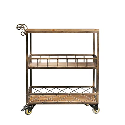 Trolley Chunlan Vintage Wrought Iron Kitchen Cart, Solid Wood Mobile Dining Car, Metal Armrests