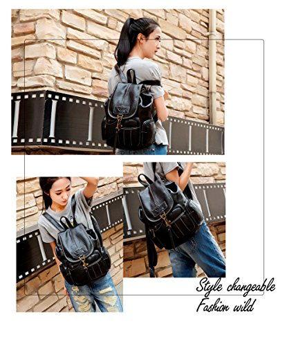for Vintage Leather Black Girls Style Purse Womens Backpack Backpack Fanshu New Dark Brown Fashion BYfwxnq