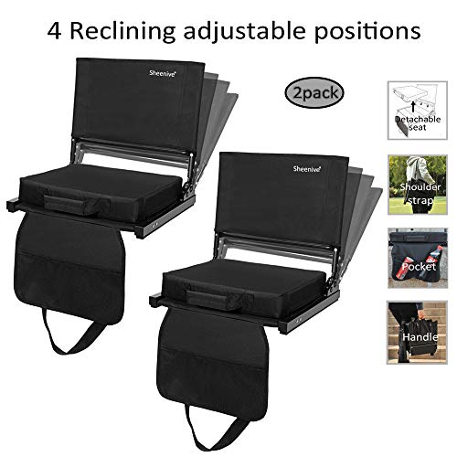 - Sheenive Reclining Stadium Seats for Bleachers - Wide Padded Cushion Stadium Seats Chairs for Bleacher with Back Support and Shoulder Strap, 4 Reclining Positions, Detachable Seat for Multi-Use
