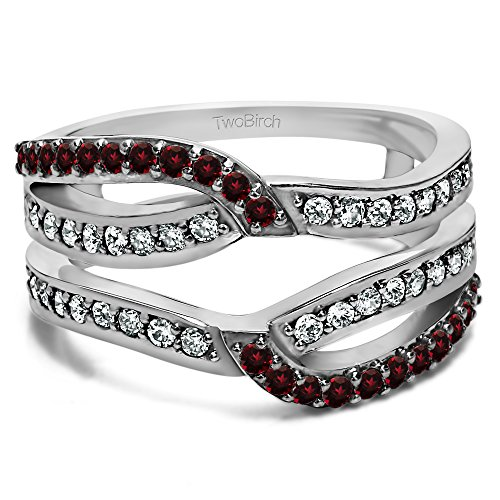 Diamond and Ruby Diamond and Ruby Infinity Wedding Ring Guard Enhancer set in Sterling