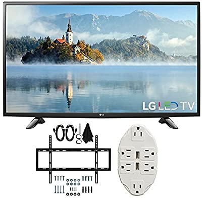 "LG 49"" 1080p Full HD LED TV 2017 Model (49LJ5100) with Deco Mount Slim Flat Wall Mount Ultimate Bundle Kit for 32-60 inch TVs & Stanley Transformer Tap USB w/ 6-Outlet Wall Adapter and 2 Ports"