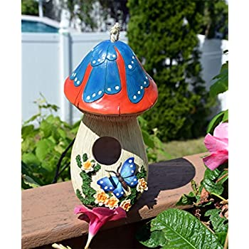 Hand-painted Mushroom Birdhouse with Flowers and butterfly, garden decor
