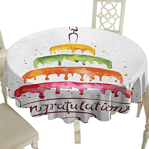 Cranekey Checkered Round Tablecloth 54 Inch Birthday,Watercolor Artwork of Multiplex Cake with a Candle Congratulations Theme Design,Multicolor Great for,Family & More