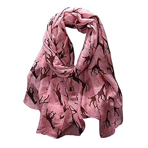 426JingYu Giraffe Animal Print Scarf,Shawl Wrap Oversized Animal Print Sunscreen Shawl Wraps Infinity Scarf Pink
