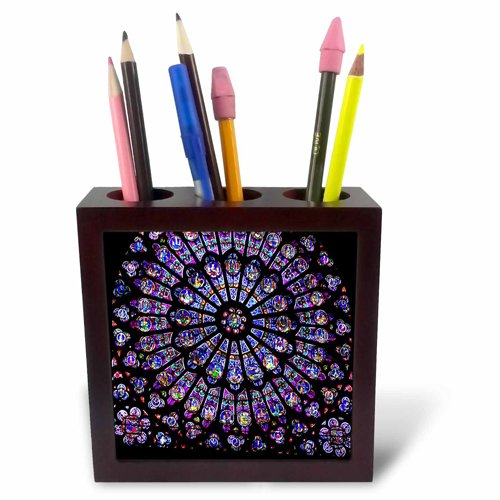 3dRose ph_50227_1 Notre Dame Cathedral Stained Glass-Tile Pen Holder, (Notre Dame Stained Glass)
