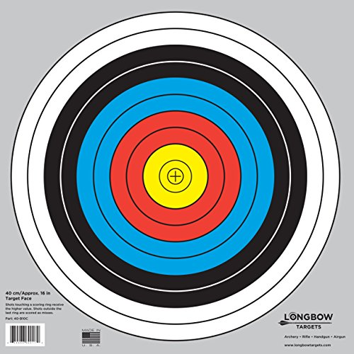 """Archery 40cm & 80cm Targets by Longbow (20 Pack, 40cm/Approx 17"""" (10 Ring))"""