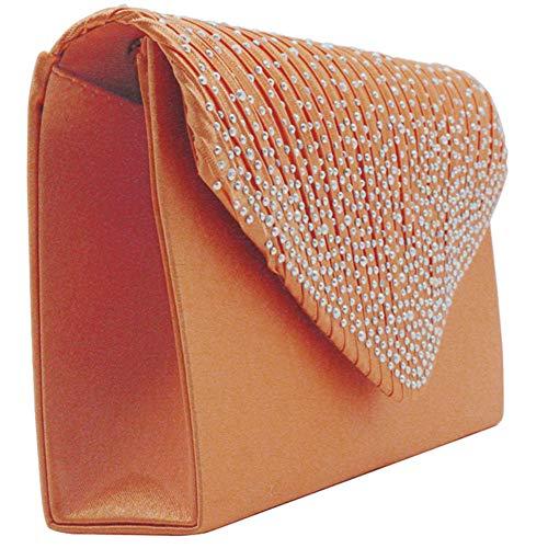 Bag Clutch Orange Evening Bridal KARRESLY Envelope Diamante Womens Pleated Purse Handbag Party Flap xZqn75I
