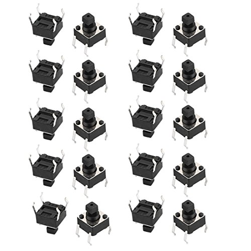 uxcell 20Pcs 4 Pin Square 6mmx6mmx7.3mm Panel PCB Momentary DPDT Mini Push Button Switch / uxcell 20Pcs 4 Pin Square 6mmx6mmx7.3mm Panel PCB Momentary DPDT Mini Push Button Switch
