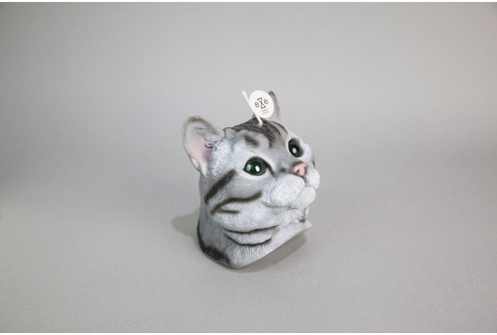 Eye Candle Studio Novelty Candle American Shorthair Tabby Cat Inlaid Glass Eyes