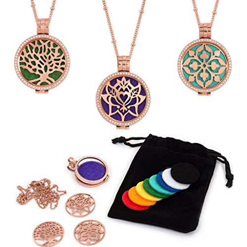 - 3 Interchangeable Plate Essential Oil Diffuser Necklace - Aromatherapy Jewelry - Hypoallergenic 316L Surgical Grade Stainless Steel, 20.8