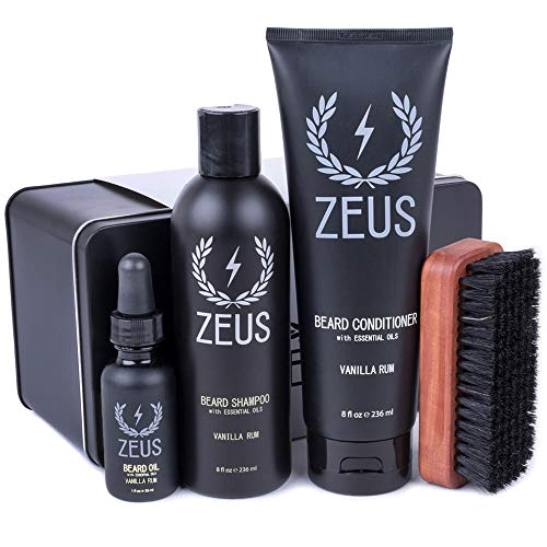 Deluxe Grooming Kit - ZEUS Deluxe Beard Grooming Kit for Men - Beard Care Gift Set to Soften Hairs and Prevent Itchiness and Dandruff (Scent: Vanilla Rum)