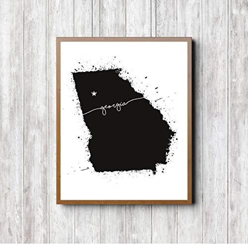 Show A Map Of Georgia.Amazon Com Georgia State Map Print Wall Art Patriotic Print