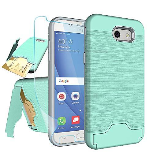 Samsung Galaxy J3 Emerge,J3 Eclipse,J3 Prime,J3 Mission,J3 Luna Pro,Amp Prime 2,Express Prime 2,Sol 2 Case with Protector,NiuBox[Card Slot Wallet Kickstand] Protective Phone Case for J3 2017-Turquoise
