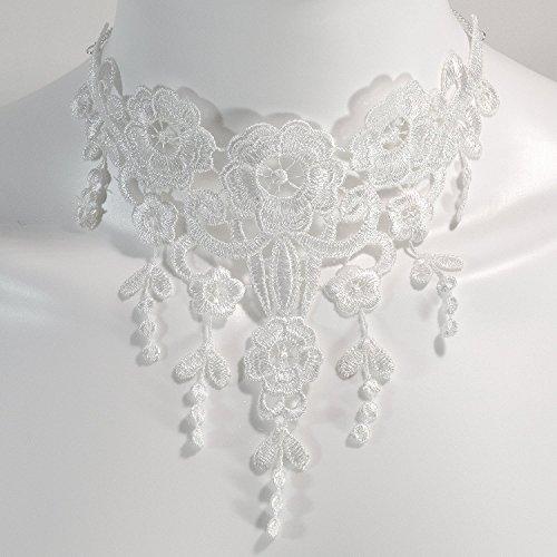 [White Lace Bridal Choker Necklace Offbeat Alternative Gothic Handmade Jewelry] (Emo Rocker Costume)