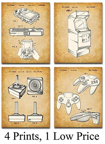 Original Video Games Patent Art Prints – Set of Four Photos (8×10) Unframed – Makes a Great Gift Under $ 20 for Game Room Decor