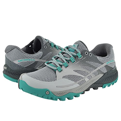 Merrell Women's All Out Charge with FREE Made in USA socks Bundle Light Grey/Green size 9.5M (US)