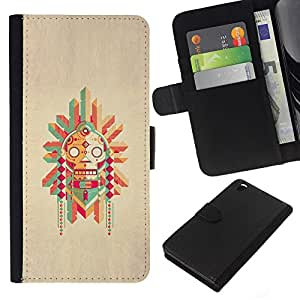 KingStore / Leather Etui en cuir / HTC DESIRE 816 / Polo nativo Dibujo estadounidense;