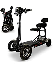 Foldable Lightweight Li-on Battery Power Mobility Scooters Easy Travel Electric Wheelchair Multi Terrain Scooter for Adults with Child Seat (Grey)