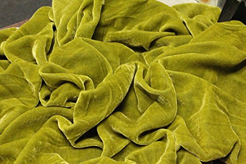 100% SILK RAYON VELVET SOLID FABRIC 45W CLOTHING,DRAPERY,DRESSES 30 COLOR BY THE YARD (PISTASHIO)