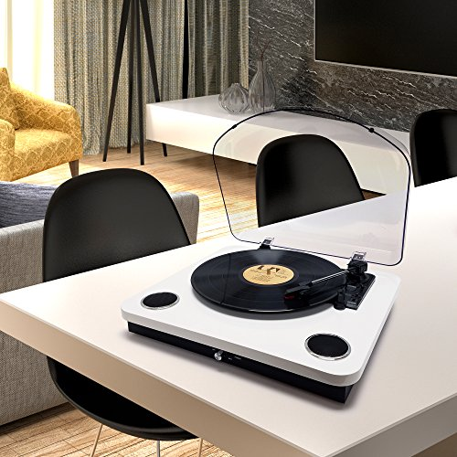Photive Spin Vinyl Record Player with Built-in Speakers | 3-Speed Stereo USB Turntable Supports Vinyl to MP3 Recording | Bluetooth and RCA Connectivity (Piano White) by Photive (Image #6)