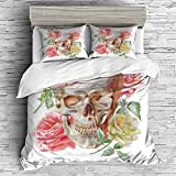 art deco images Cotton Bedding Sets Duvet Cover with Pillowcases Printed Comforter Cover Sets(King Size) Skull,Skull with Roses Living and The Dead Humor Romantic Evil Face Image Art Deco,Pink Beige Yellow